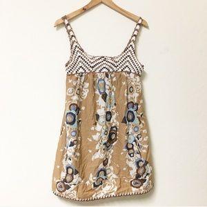 BCBG crochet boho bohemian tunic blouse XS